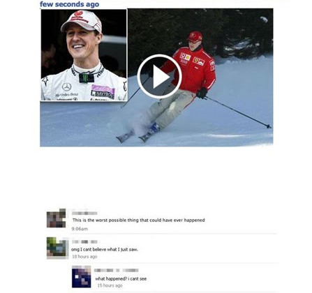 F1, Michael Schumacher, Facebook, scam