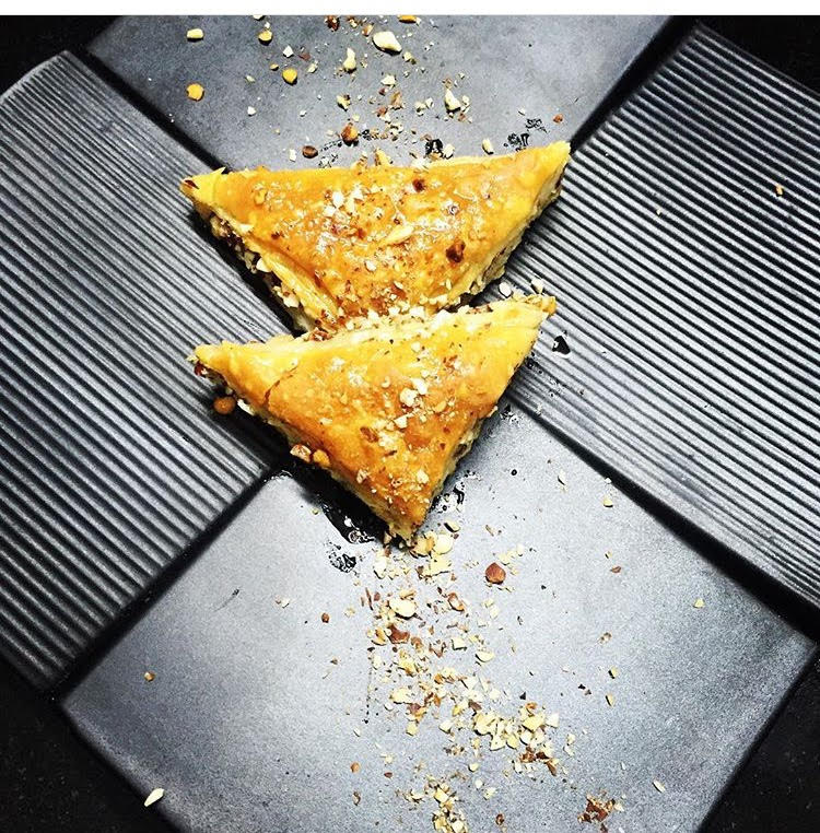 BAKLAVA, sweet layered pastry, chopped nuts, sweetened syrup