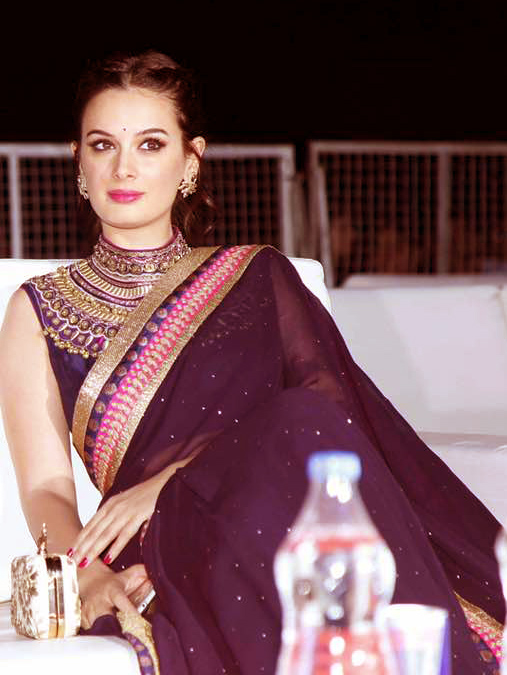 Evelyn Sharma,retro-traditional,Ritu Kumar,sari,CAMA Awards
