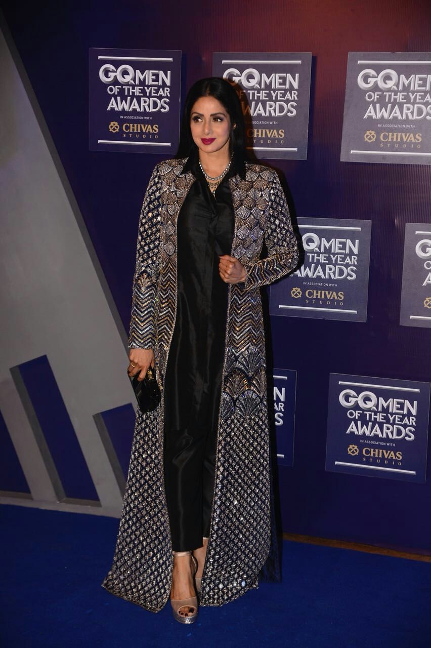 Megastar Sridevi wins the Excellence in Acting award at the GQ Men of the Year awards !