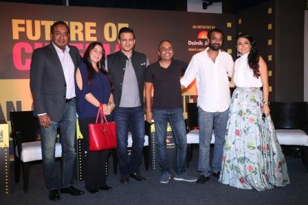 Sameer Nair Shrishti Behl Vivek Oberoi Ajay Chacko Madhu Mantena and Mini Mathur at the Jagran Cinema Summit