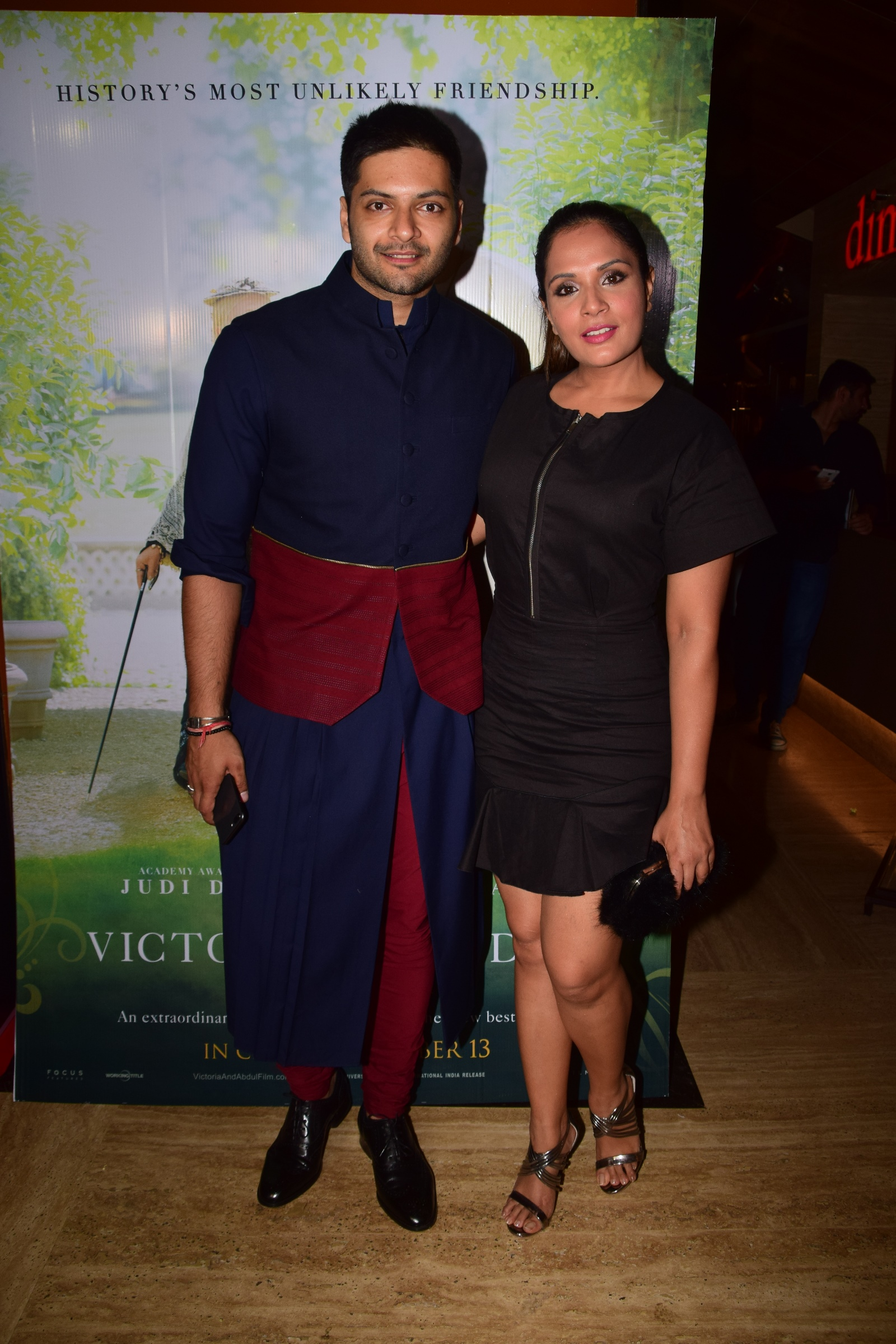 Ali Fazal with girlfriend and actress Richa Chadha at the premiere of Ali Fazals Hollywood film Victoria Abdul Film Release Date 13th Oct.