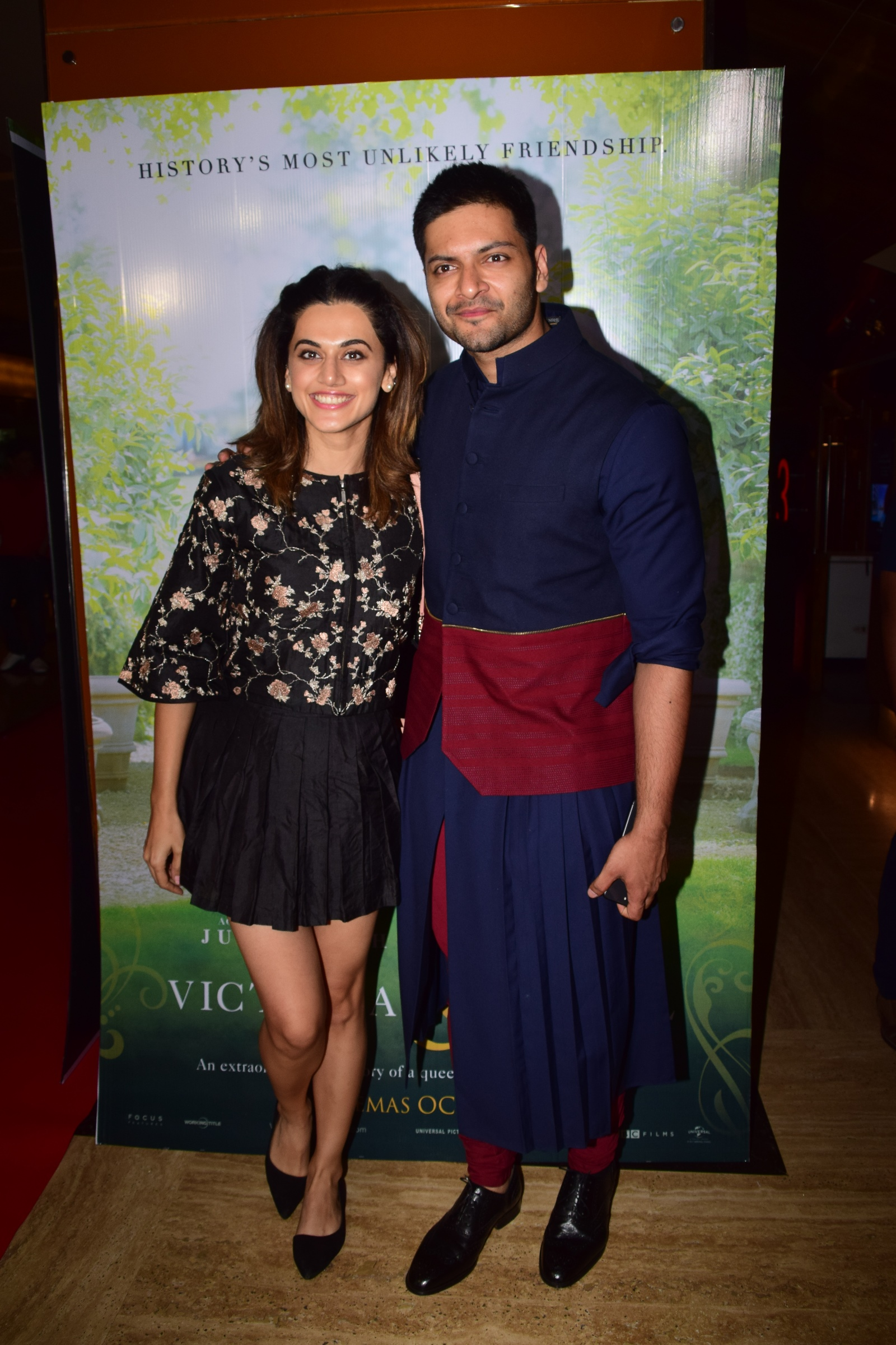 Taapsee Pannu with Ali Fazal at the premiere of Ali Fazals Hollywood film Victoria Abdul Film Release Date 13th Oct.