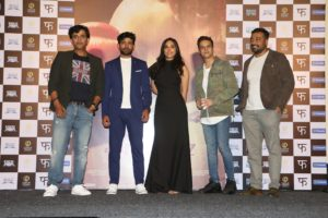 Actor Ravi Kishan Vineet Kumar Singh Actress Zoya Hussain Jimmy Shergill and director Anurag Kashyap spotted at the trailer launch of their film Mukkabaaz