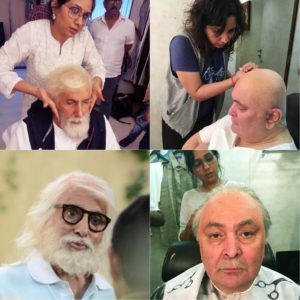 Preetisheel Singh working on Amitabh Bachchan and Rishi Kapoors look on the sets of 102 Not Out.