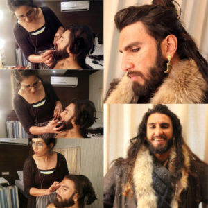 Preetisheel Singh working on Ranveer Singhs look on the sets of Padmaavat. Collage 1.