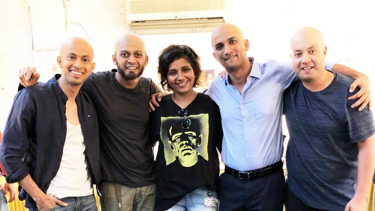 Makeup and prosthetic look designer Preetisheel Singh with Chhichhore cast. Pic 1